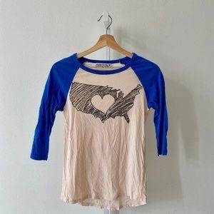 Project Social T USA Map Heart Raglan Top Shirt CM